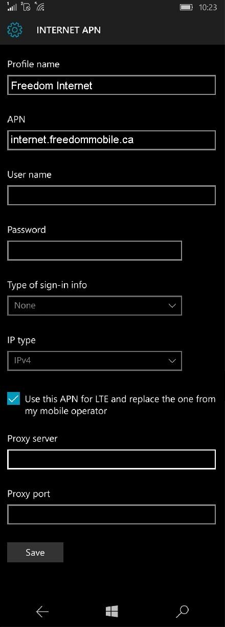 Freedom Mobile Windows Phone APN Settings