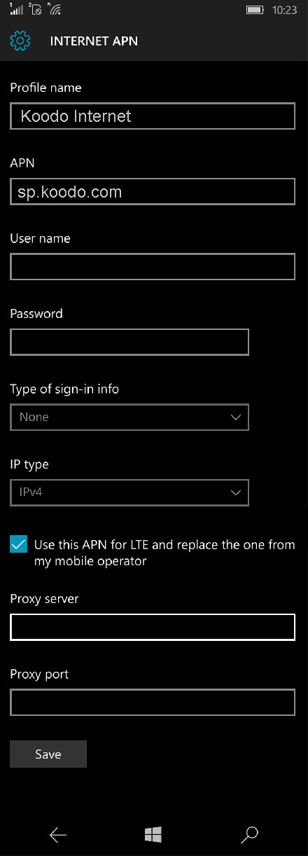 Koodo APN Settings for Windows Phone