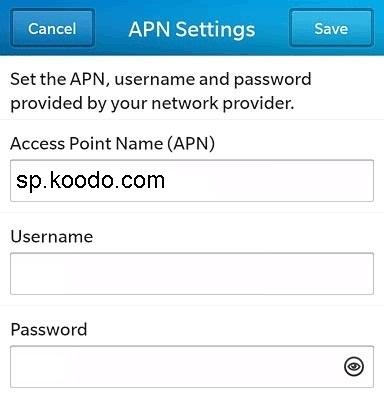Koodo Blackberry APN Settings