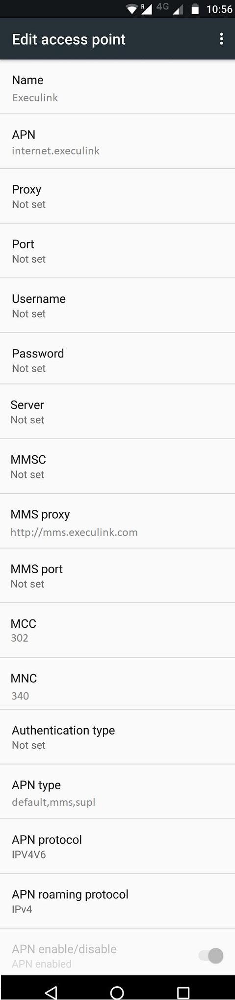 Execulink APN Settings