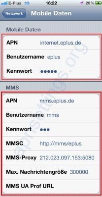 E-Plus APN LTE Einstellungen für iPhone 4 5 6 6S 4S iPad