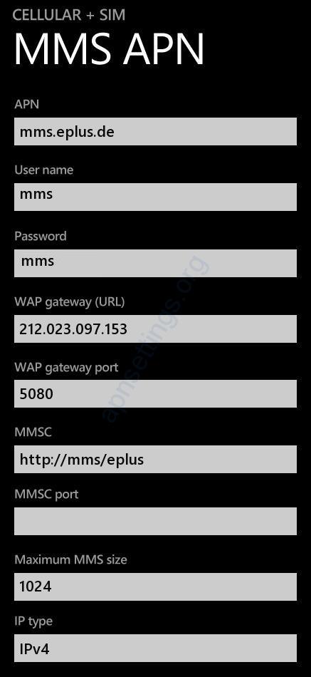 E-Plus MMS-Einstellungen für Windows Phone Lumia