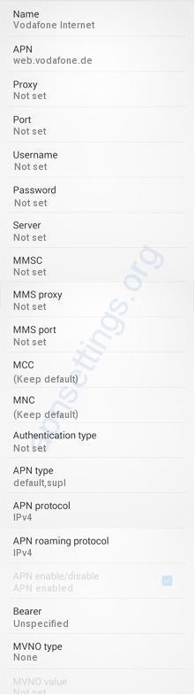 Vodafone Internet MMS APN Einstellungen für Android