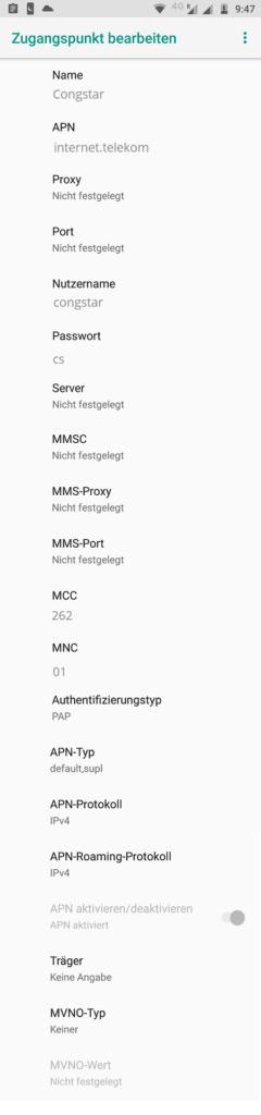 Congstar APN-Einstellungen für Android