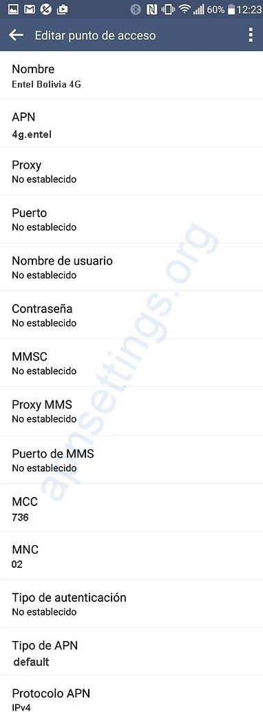 APN de Entel Bolivia 4G LTE para Android