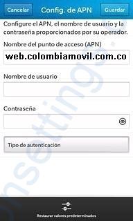 APN de Tigo Colombia para Blackberry