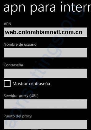 APN de Tigo Colombia para Windows Phone