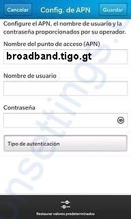 APN de Blackberry Tigo Guatemala