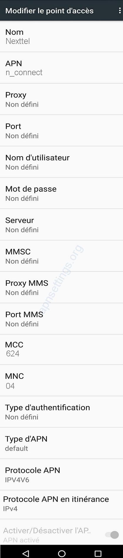 Paramètres Internet de Nexttel Cameroun