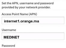 Configuration Internet Orange Maroc sur Blackberry