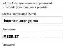 Configuration Internet Orange Maroc sur Blackberry