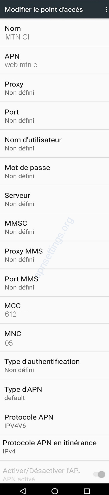 Paramètres APNMTN CI Pour Android