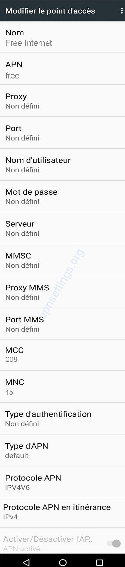 Configuration Internet Free Mobile sur Android HTC Samsung