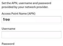 Paramètres APN Free sur Blackberry