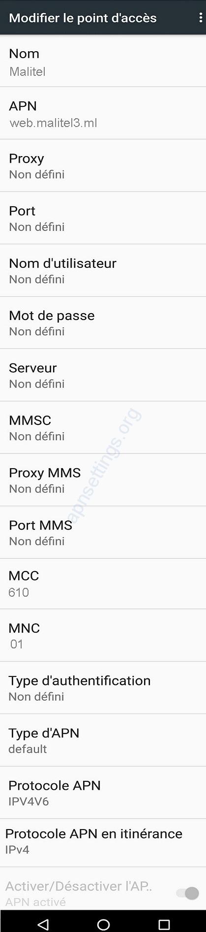 Paramètre Internet 4G de Malitel