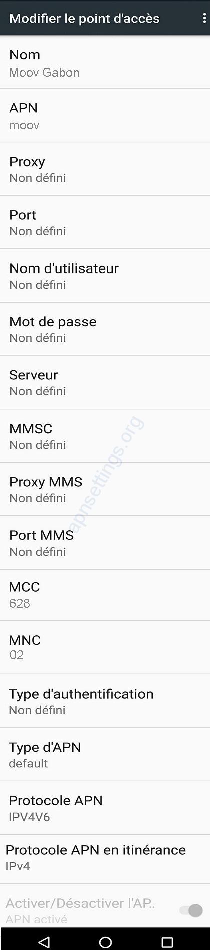 Paramètres Internet gratuit de Moov Gabon