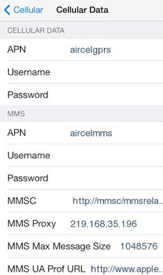 Aircel Internet Settings for iPhone 4S,5,6,6S and iPad