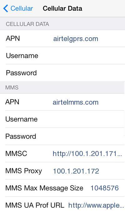 Airtel 4G Internet Settings for iPhone iPad - 4G LTE APN India