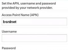 BSNL APN Settings for Blackberry 8520 Z10