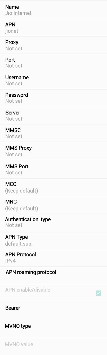 Jio 4G APN Settings for Samsung Galaxy