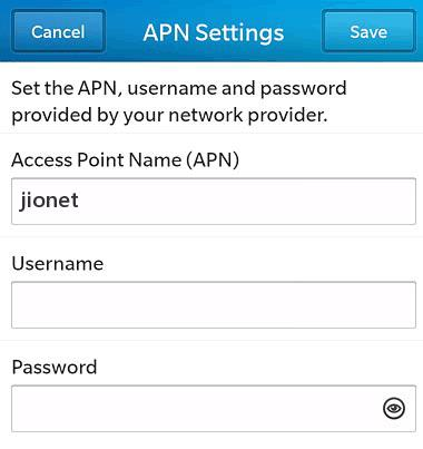 Jio APN Settings for Blackberry 10