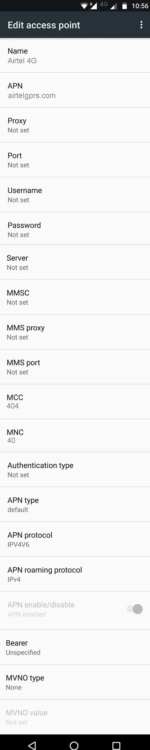 Airtel 4G APN Settings for Android - 4G LTE APN India