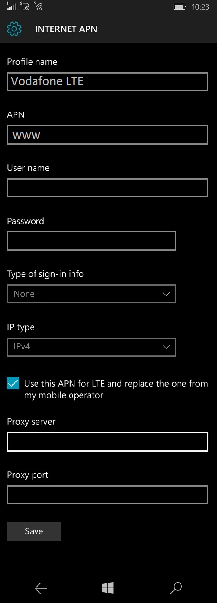 Vodafone 4G APN Settings for Windows Mobile - 4G LTE APN India