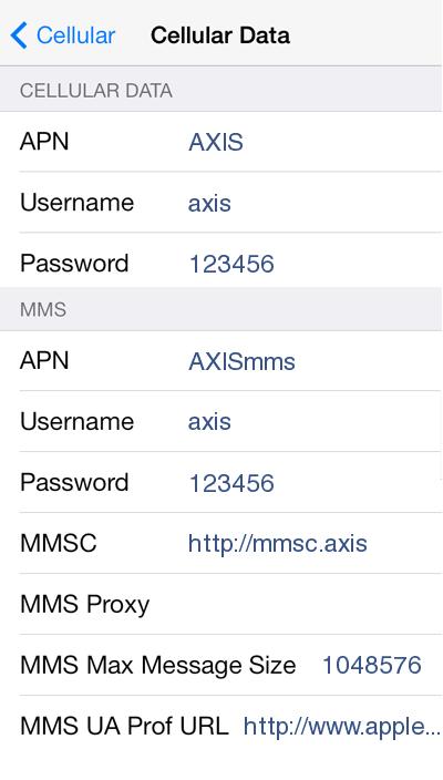 Cara Setting Internet Axis di iPhone