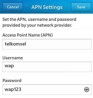 Setting Internet Telkomsel di Blackberry 10