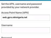 MTN Nigeria APN Settings for Blackberry 10