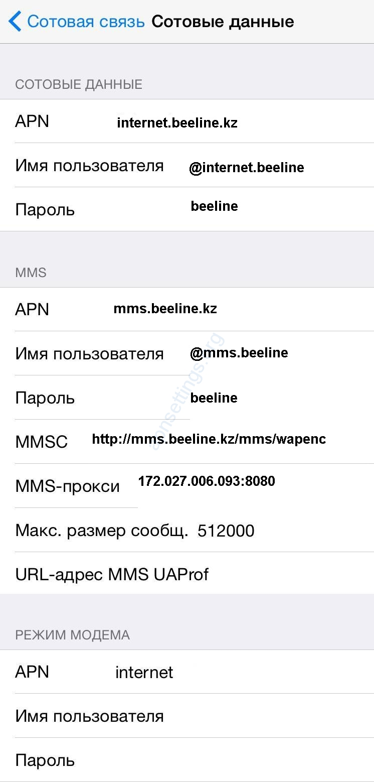 Hастройки интернет iPhone iPad