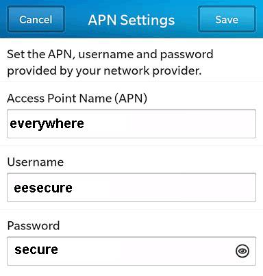 EE APN settings for Blackberry Curve 8520 Bold z10 UK