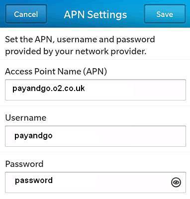 O2 UK APN Settings for Blackberry Curve Blod z10 PayG
