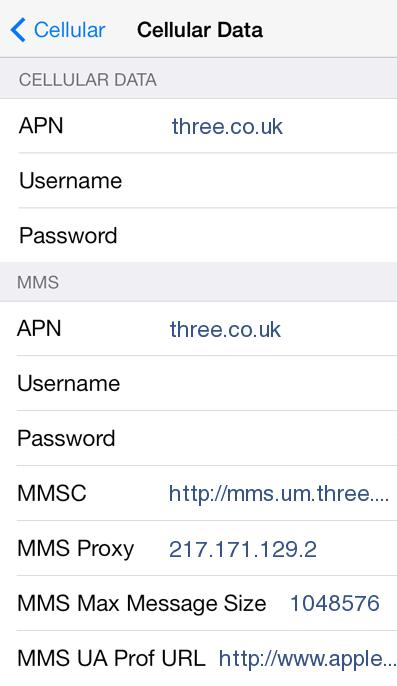Three UK APN Settings for iPhone 4 5 6 6S Plus