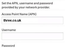 Three UK APN settings for Blackberry Curve