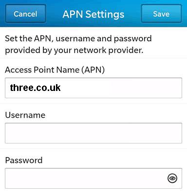Three UK Blackberry APN Settings