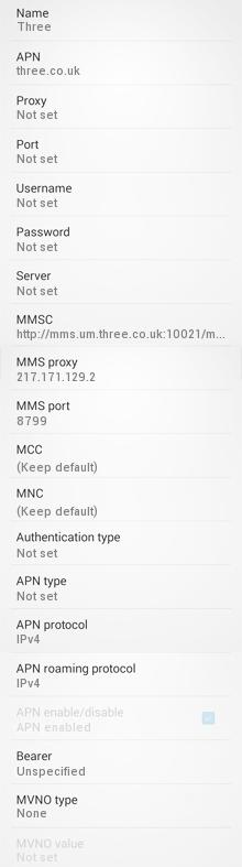 Three UK LTE Internet and MMS APN Settings for Android HTC Desire One Nexus 4 5 Galaxy S4 S5 S6