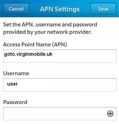 Virgin UK APN Settings for Blackberry