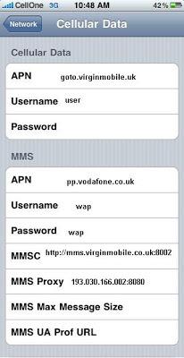 Virgin Mobile UK APN Settings for iPhone 5 6 4S iPad