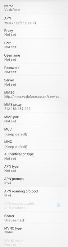 Vodafone UK 4G APN Settings for Android PayG - 4G LTE APN UK