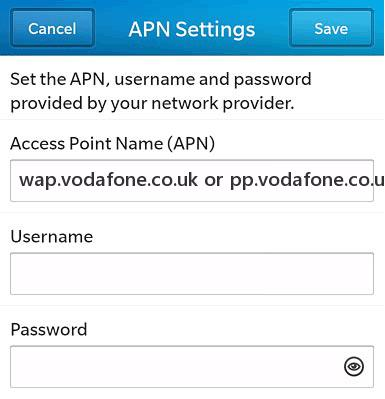 Vodafone UK APN for (Pay Monthly) Blackberry 10Customers