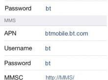 BT Mobile 4G APN Settings for iPhone iPad