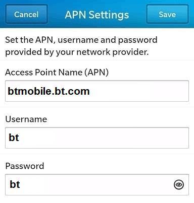 BT Mobile APN Settings for Blackberry