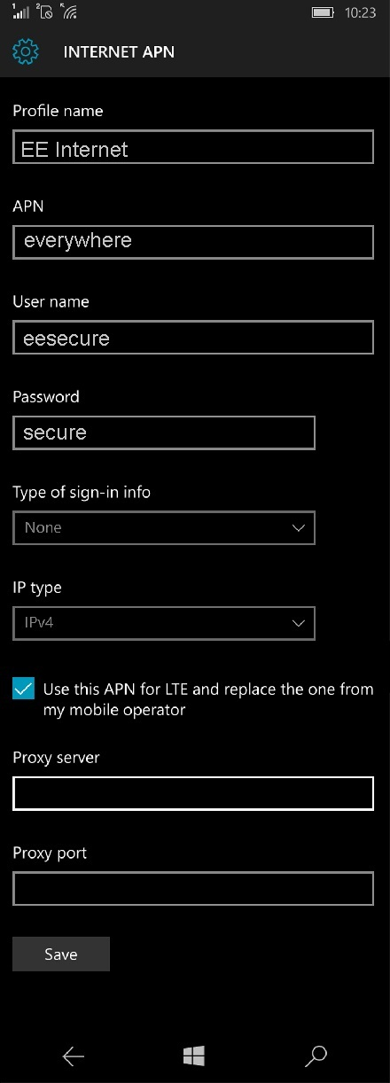 EE 4G APN Settings for Windows Phone 10