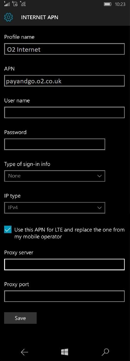 O2 APN Settings for Windows Phone