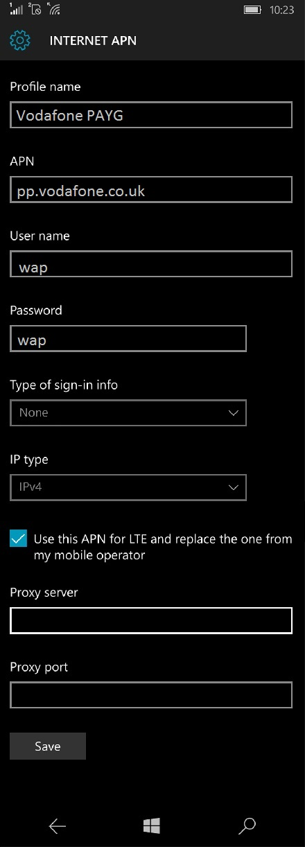 Vodafone UK APN Settings for Windows Phone
