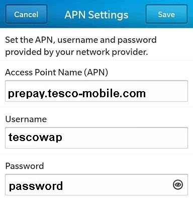 Tesco Mobile Blackberry APN Settings