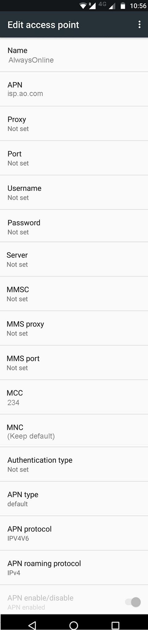 AlwaysOnline Wireless APN Settings