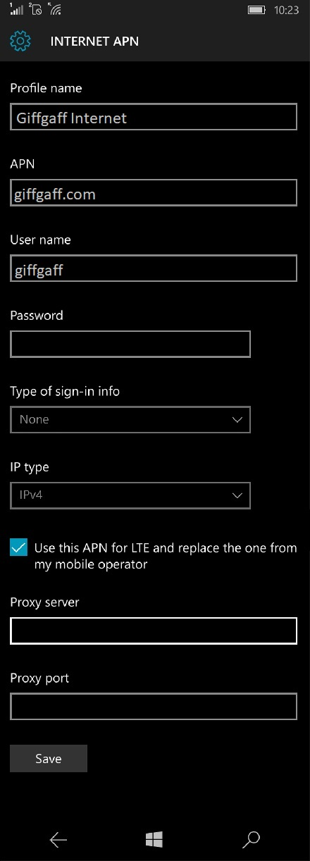 Giffgaff Internet Settings for Windows Phone
