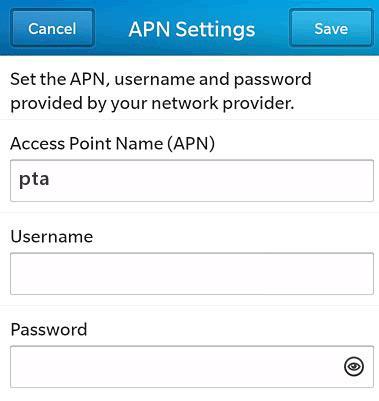 AT&T APN Settings for Blackberry 10 Bold Storm